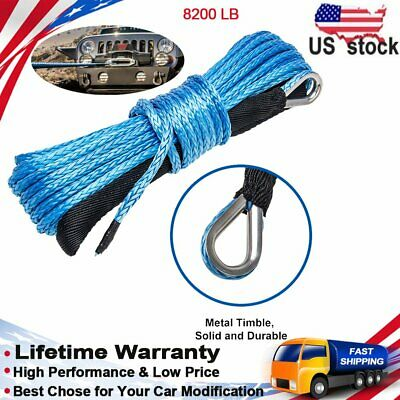 Ucreative 1/4quot x 50' 8200 LBS Synthetic Winch Line Cable Rope with Sheath AT