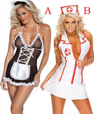 db090014caa9f Sexy Lingerie Nurse Maid Costume Women's Outfit Role Play Cosplay Dress Set  New