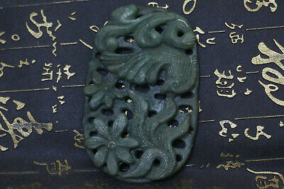 Antique Old Chinese Nephrite Celadon Jade Carved Pendant Statues F12