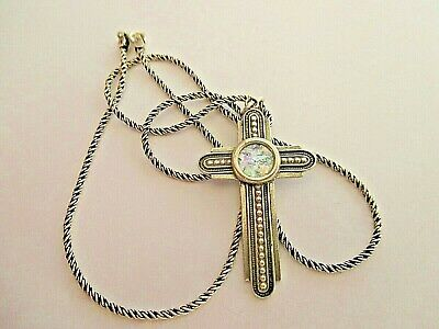 Large Ancient Sterling Silver Cross With Roman Glass Hand Made Necklace