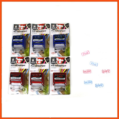 12 x SELF-INKING STAMPER | Paid Copy Urgent Stamps Office Use Stamps Pre-Inked