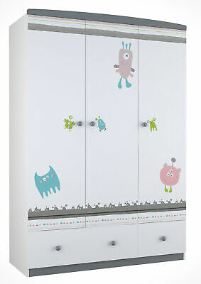 Polini Kids Kinder Kleiderschrank Basic Monsters 3 Turig Grau Weiss
