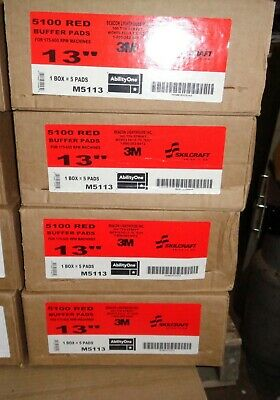 """3M Red 13"""" Buffer Pad 5100 Case Of 5 Pads M5113"""
