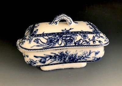 Antique Aesthetic Period Flow Blue Doultons Burslem Oxford Covered Sauce Tureen