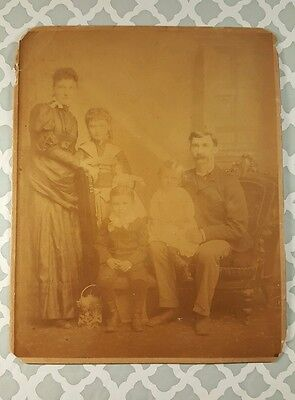 """Antique Photo Of A Large Family Early 1900'S On Cardboard 8"""" X 10"""""""