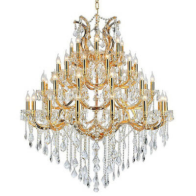 "Maria Theresa Chandelier, W46""x H58"", L49, Gold Finish, Clear Crystal"