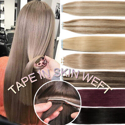 """22""""24"""" Tape IN Real Remy Human Hair Extensions Full Head Thick 150g Skin Weft G5"""