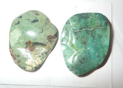 Turquoise Rough Stone Surface Flat Bottom Free Form Cab 126 Carat 2 pieces