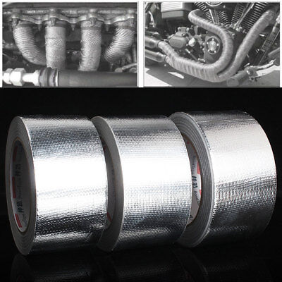 5cm Roll Exhaust Heat Wrap Manifold Downpipe Bandage Tape Silver Repair 25M