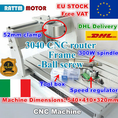 【IT】3040 Ball Screw 52mm CNC Wood Router DIY Milling Machine Kit+300W DC Spindle
