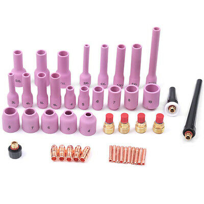 46pcs TIG Gas Lens Collet Body Assorted Size Kit Fit SR WP 9 20 25 Welding Torch