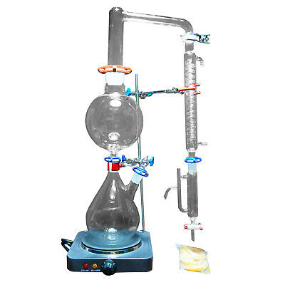 2000ML Lab Essential Oil Steam Distillation Labware Apparatus w/Graham Condenser
