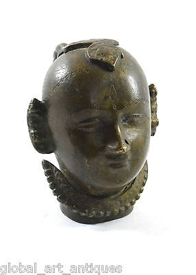 1800s Antique Handcrafted Engraved Brass Lady Face Figurine (Gangaur).G53-524 UK