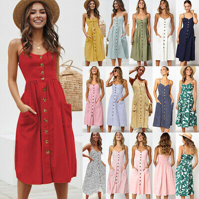 BOHO Womens Summer Beach Midi Dress Holiday Strappy Button Through Sun Dresses