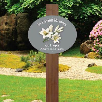 Personalised memorial oval sign Lily Grave Marker In Loving Memory Garden Plaque