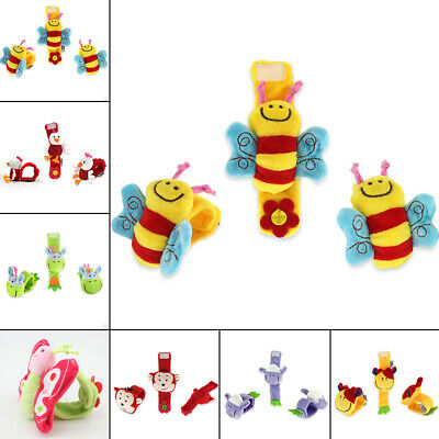 Animal Shape Rattles Toy Hand Wrist Bell Baby Kids Foot Sock Multi Soft Durable