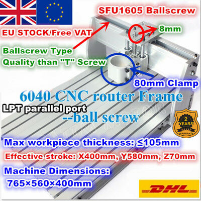 【At DE】6040 80mm CNC Wood Router Ball Screw Engraving Milling Machine Frame Kit