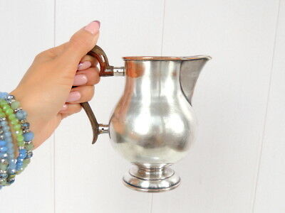 Vintage Antique Solid Silver Plate Milk Cream Jug Pitcher Wooden Handle Signed