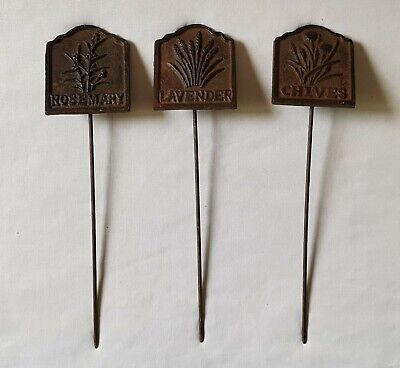 Three Vintage C1950'S Cast Iron Herb Garden Spiked Name Plates