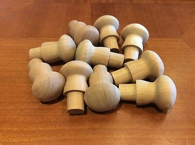 10 Cherry Wood Shaker Style Mushroom Drawer Knobs Pulls w/ tenon Unfinished