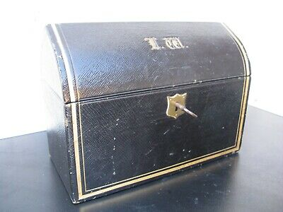 Late Victorian black leather Gothic style stationery box with gilt tooling