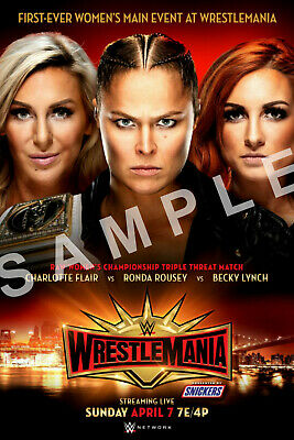 BECKY LYNCH RONDA ROUSEY & CHARLOTTE FLAIR 12x18 WWE WRESTLEMANIA POSTER 1