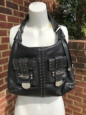 316f86d3ead0fd MICHAEL KORS ASTOR Black Leather Silver Studded Satchel Handbag Purse Patina