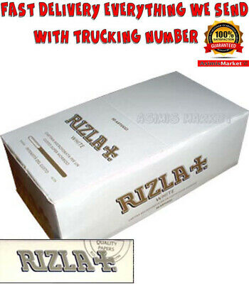 Rizla White FULL BOX 50 Booklets 2500 Smoking Rolling Papers Regular Size