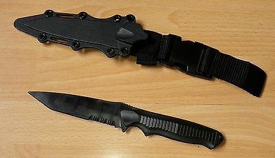 RUBBER TRAINING KNIFE PLASTIC with Sheath AIRSOFT Martial art Practice Black