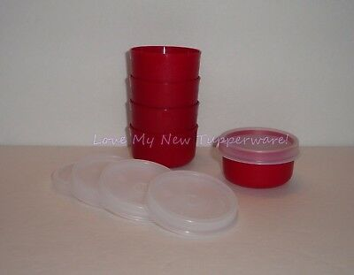 Tupperware Smidgets Set of 5 Spices Salad Dressings Beads Red New
