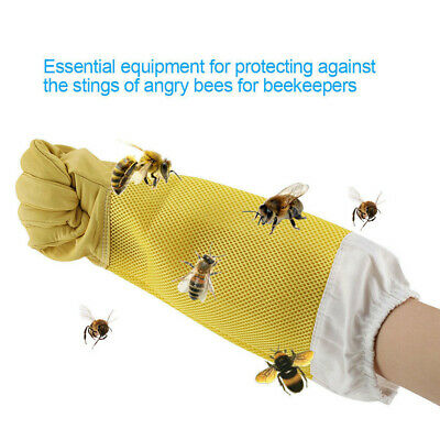Pair Of Beekeeping Gloves Goatskin Bee Keeping with Vented Beekeeper Long Sleeve