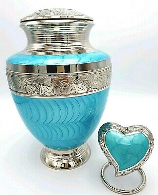 Brass Adult + Heart Keepsake Cremation Urns for Ashes in Aqua