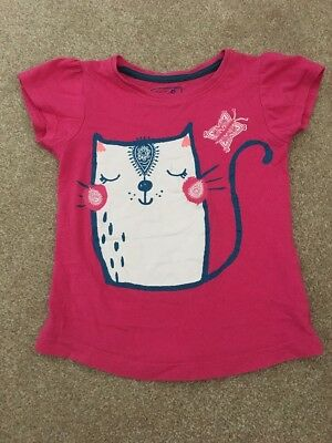 Girls T-shirt top size 5-6 years pink cat logo YD ( Young Dimension)