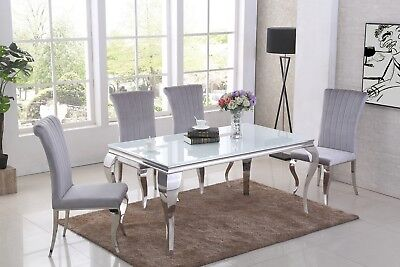Louis GLASS 160cmCHROME CONTEMPORARY DINING TABLE CHAIRS Black - White - Silver