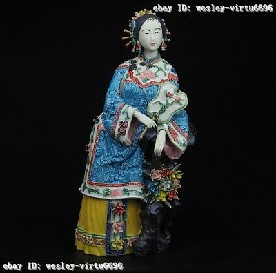 China Pottery Wucai Porcelain Fan peony flower Woman Ladies Decoration Statue