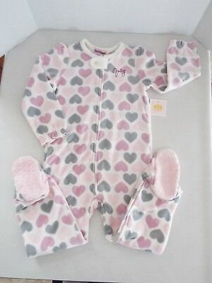 Juicy Couture Toddler Girl's Blanket Fleece Footed Sleeper Pajama's 4 Yrs New
