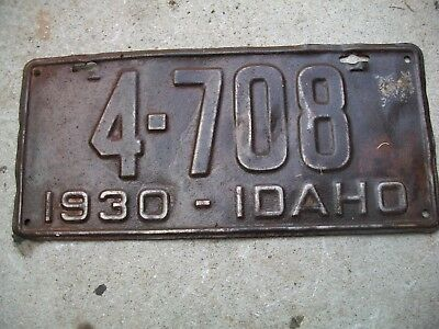 Antique Vintage RARE Nice Dated 1930 Idaho License Plate