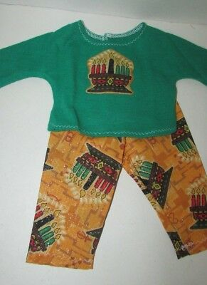 """15"""" doll clothes hand made outfit or pajamas Kwanzaa green top gold pants"""