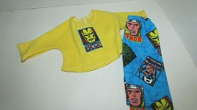 """15"""" doll clothes hand made outfit or pajamas Iron Man yellow top blue pants"""