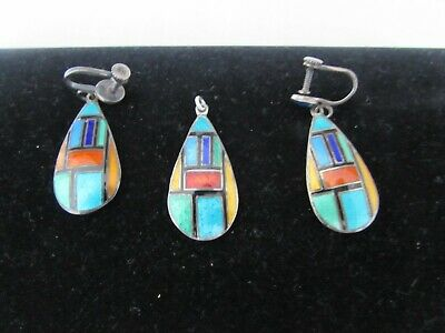 Siam Sterling Silver Earrings/Pendant-Multi-Color Enamel Geometric Pattern