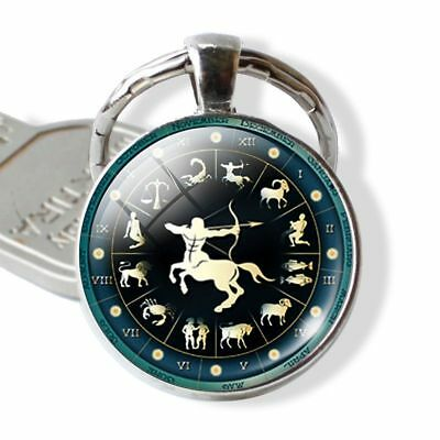 Constellation Zodiac Sign Round Glass Car Bag Keyring Keychain Pendant Gift
