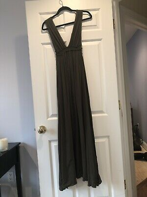 32bbdc95c41 Lulus Lost In Paradise Olive Green Maxi Dress Thick Strap Size Small
