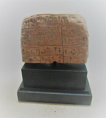 Plinthed Ancient Near Eastern Stone Tablet Early Form Of Writing 3000Bce