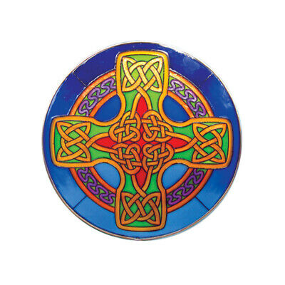 """6"""" Round Stained Glass Hanging Panel With Blue Celtic Cross Design"""