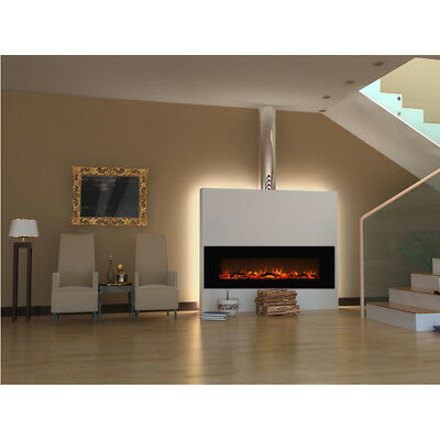 50 Inch Led Flames Black White Glass Wall Mounted Electric Fire Fireplace