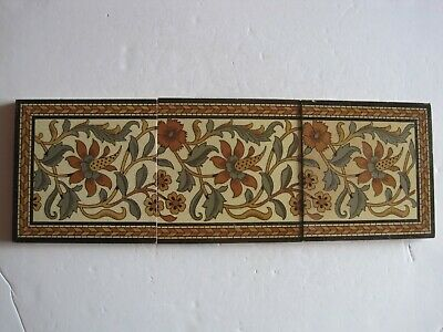 ANTIQUE VICTORIAN MINTON'S ARTS & CRAFTS STYLE COLOURED PRINT 3 TILE PANEL c1890