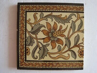 ANTIQUE VICTORIAN MINTON'S ARTS & CRAFTS STYLE COLOURED PRINT WALL TILE c1890