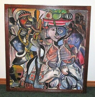 Mid-Century Modern African Oil Painting Contemporary Abstract Expressionist 45""