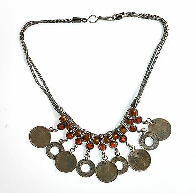70 Year Old Silver, Amber & Coins Tribal Indian Necklace