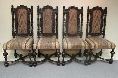 Antique Lot of 4 Ornate Highly Carved Wood & Upholstered Side Chairs